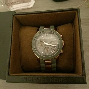 Michael Kors rose gold and grey link watch